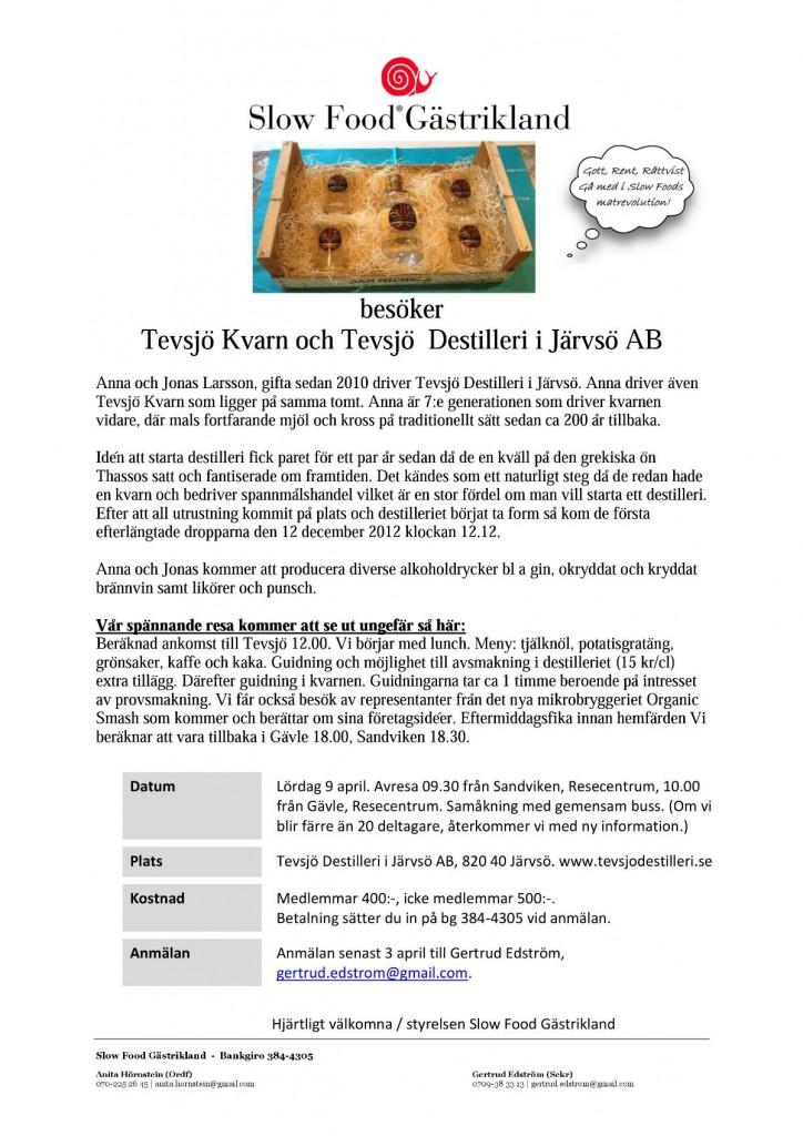 Inbjudan Tevsjö Kvarn och Destilleri